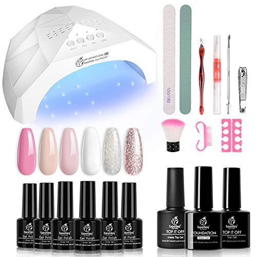 Beetles French White Glitter Gel Nail Polish Starter Kit with LED Light 48W Nail Lamp Gel Base Shiny Matte Top Coat Soak Off Nude Pink Gel Nail Polish Set Gel Manicure Kit DIY Home Nail Art Design