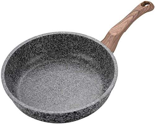 Pan de freír sin palo portátil Sartén de mármol antiadherente con sensor de mango de baquelita resistente al calor, adecuado para freír, freír, hirviendo, freír, vapor, pizza Una sartén que debe estar