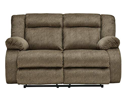 Signature Design by Ashley - Burkner Contemporary Power Reclining Loveseat - Adjustable - Brown
