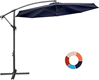 JIESSIWONG Offset Umbrella - 10Ft Cantilever Patio Hanging Umbrella,Outdoor Market Umbrellas with Crank Lift & Cross Base(10 FT,Navy)