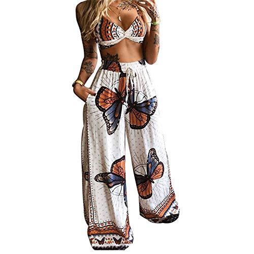 Conjunto de 2 piezas de verano boho con estampado de mariposas, sexy y con cordón de pierna ancha y pantalones palazzo sueltos para yoga