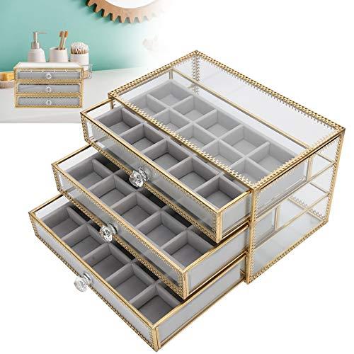 Caja de almacenamiento de uñas falsas de 45 rejillas, caja de soporte de uñas, joyero de 3 capas, cajón de contenedor de puntas de uñas de escritorio caja de almacenamiento de arte de uñas