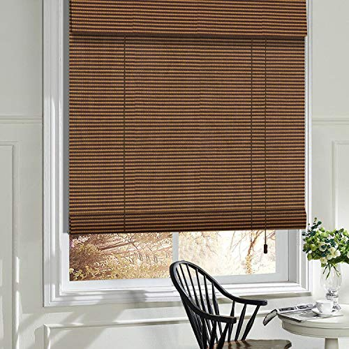 LANTIME Wood Window Blinds Shades, Lined Blackout BambooRoller Shades, Easy Installation for Home and Garden, Pattern 2