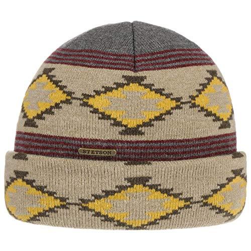 Stetson Navajo Klagetoh Beanie Umschlagmütze Strickmütze Wintermütze Herren - mit Umschlag Herbst-Winter - One Size grau