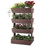 GUTINNEEN 4 Tier Raised Garden Bed with Garden Fabric, Vertical Elevated Outdoor Planter Box for Vegetable, Herb, Flower, Succulent