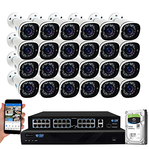 GW Security 32 Channel 4K NVR 5MP AI Human Detection Security Camera System with 24 Super HD 1920P Microphone PoE Outdoor/Indoor Weatherproof IP Security Bullet Cameras