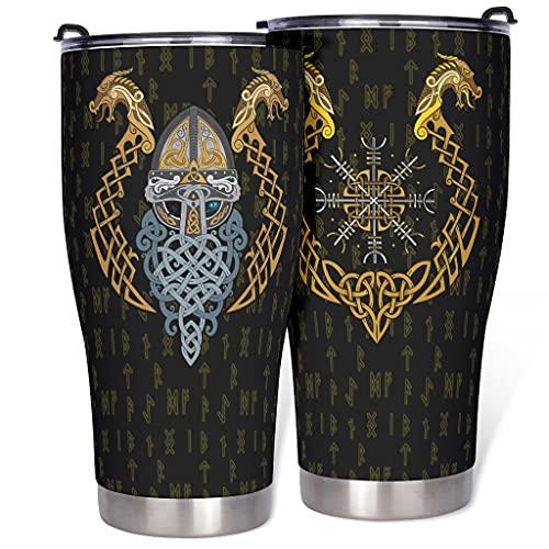 Dessionop Botella de agua de Tumbler vikingo Odin Dragón Celta Nudos Fathurk Impresión Coche Taza Taza 900 ml antigoteo Tapa Blanca