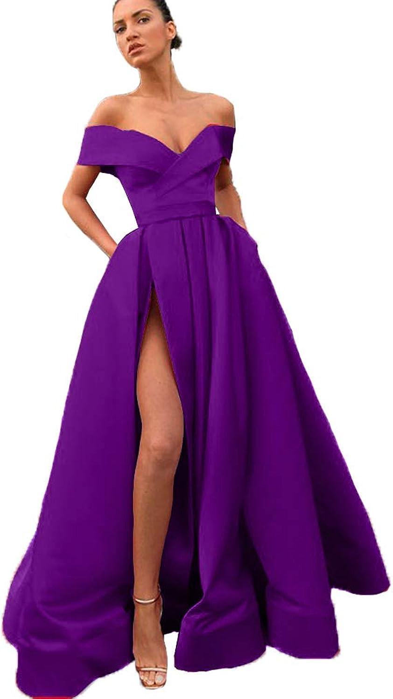 Fashionbride Women's Off Shoulder Prom Evening Dress with Slit ALine Satin Formal Gown ED124