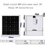 ZSPSHOP Panel Solar De Silicio Monocristalino 20W ~ 80W Tablero De Carga De Generación De Energía Fotovoltaica Doméstica Panel Solar De 12V,80W