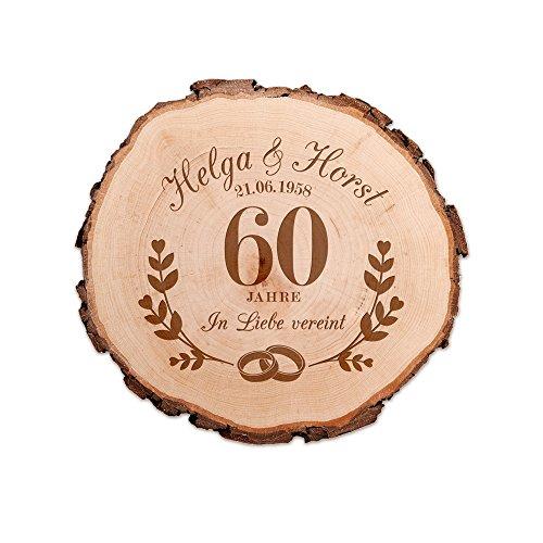Casa Vivente Baumscheibe mit Gravur – Zur Diamant-Hochzeit – Personalisiert mit Namen und Datum – Aus Echtholz mit Rinde – Türschild und Wand-Deko – Geschenkidee für Paare zum 60. Hochzeitstag