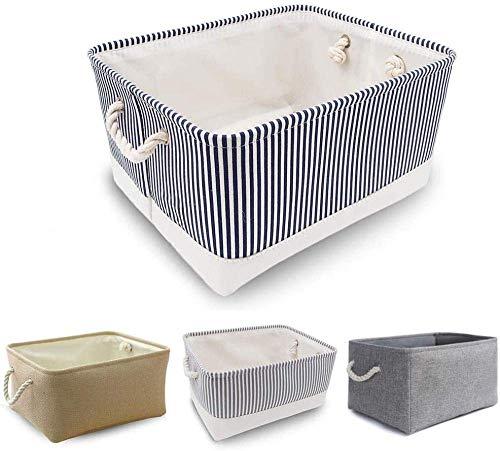 XIEZI Bolsa de almacenamiento de ropa de lona pesada caja de almacenamiento plegable con asa de cuerda (grande gris) - Rayas azules grande (grande)
