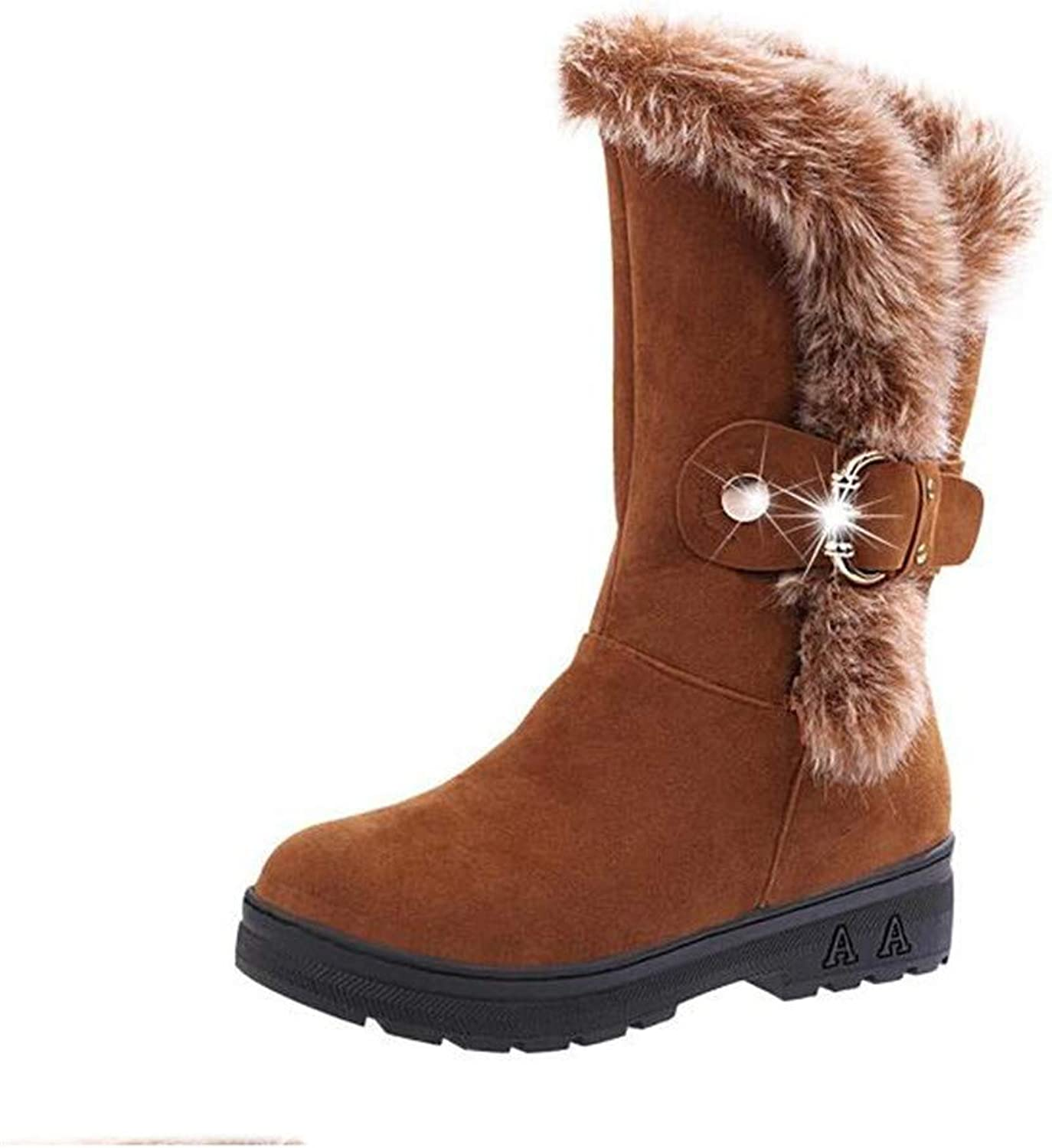 YHOOEE Women Snow Boots Winter Non-Slip Casual Warm Fur Mid-Calf Flat Round Toe Ladies Ankle Boots Outdoor Sports shoes