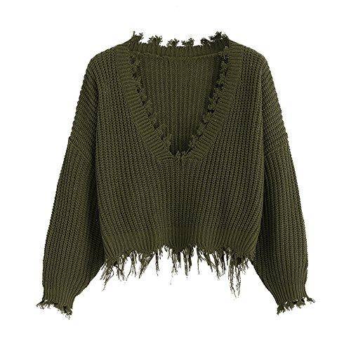 ZAFUL Maglione Donna con Scollo a V Pullover Tops Casual Invernale Manica Lunga Lavorato a Maglia (Verde Scuro)