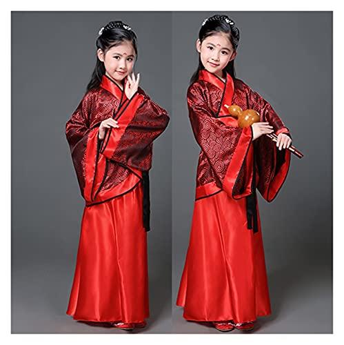 FKJSP Falda Hanfu estilo chino oriental retro hanfu cosplay niños traje de princesa tradicional chino vestido de niña (color: burdeos, tamaño: 5 6 años (110 120 cm)