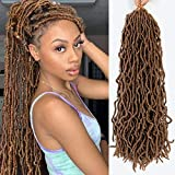 Caliee Pre-Looped 6 Packs Nu Faux Locs Curly Wavy Goddess Soft Loc Anturn Fashion Color Fiber Roots Synthetic Soft Dreads Braiding Hair Extensions 21 Strands Fashion Twist For Black Women 18 inch #30