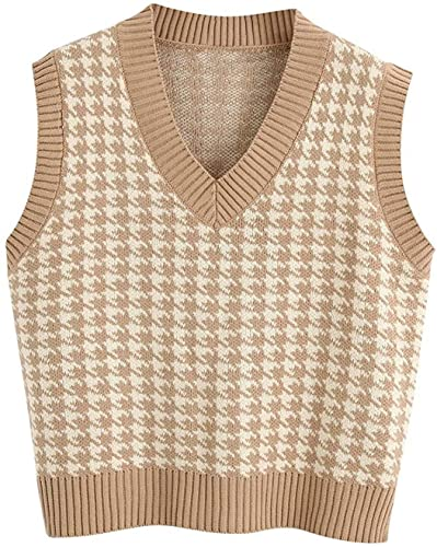 FRMUIC Women's Houndstooth Top Vest Knitted Shirtv Neck Sleeveless Pullover European and American Fashion Sweater (3X-Large, Khaki)