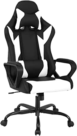 BestMassage Office Desk Gaming Chair High Back Computer Task Swivel Executive Racing Chair for BackSupport with Lumbar Support Armrest Adjust Headrest (White)