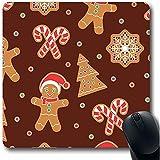 ELIST Mauspad, 25 x 30 cm, Blau mit Süßigkeiten-Weihnachtsbaum, Lebkuchenmann, Kekse, Feiertage und grünem Cane, rutschfest
