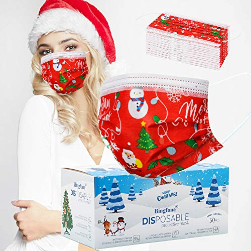 Christmas Face Mask Disposable Face Mask for Adult Women Men Christmas Disposable Face Masks Cute Printed Christmas Dessign Face Masks (50pcs Red)