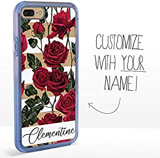 Guard Dog Custom Clear Cases for iPhone 7 Plus/8 Plus – Personalized Floral – Put Your Name on a Designer Phone Case – Red...