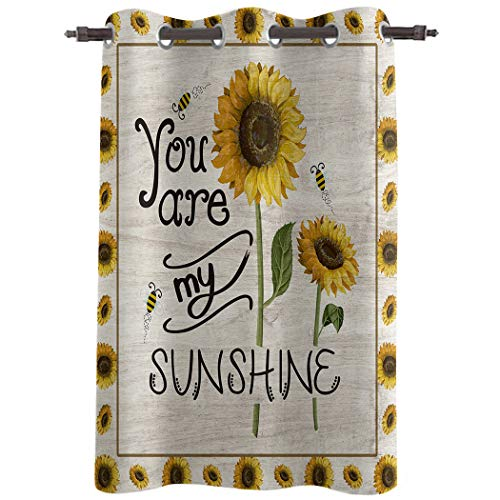 Z&L Home Blackout Window Curtains Thermal Insulated Drapes Sunflower Country Style Grommet Window Panel Darkening Treatments for Living Room Bedroom Bathroom, You are My Sunshine 52x96in