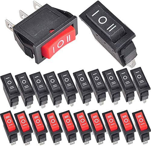 RUNCCI-YUN 20pcs ON/OFF/ON SPST, 3 Posicion Interruptor Basculante,Barco Interruptor Mecedora,Interruptor Coche Rocker Interruptor AC 250V/15A, 125V/20A