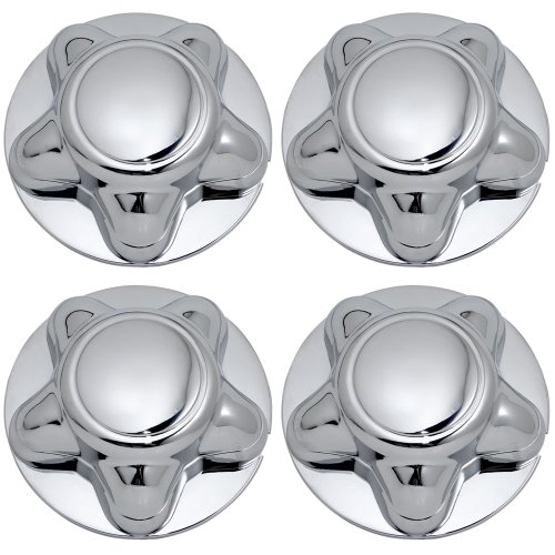 OxGord Center Caps Best for 97-04 Ford F-150, Expedition & 98-03 Navigator - Snaps Over Factory Aluminum & Steel Wheel with 12/14mm 5-Lug Bolts - OEM Replacement YL34-1A096-DA (Pack of 4) - Chrome