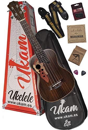 """Ukelele Concierto 23"""" Palo de Rosa UKAM mod.AM-MG200, con afinador tipo pinza, cejilla especial ukelele, funda acolchada con correa, juego de cuerdas extra, correa ajustable y púas."""
