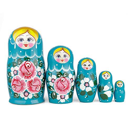 Heka Naturals Russische Matroschka-Puppen, 5 traditionelle Matroschkas Biryuzovaya-Stil | Babuschka Holzpuppe Türkis mit Pinkem Blumen-Design, Handgefertigt in Russland | Biryuzovaya, 5 Stück, 18 cm