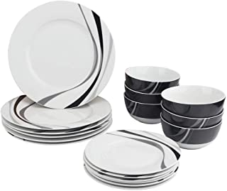 AmazonBasics 18-Piece Kitchen Dinnerware Set, Plates, Dishes, Bowls, Service for 6, Swirl
