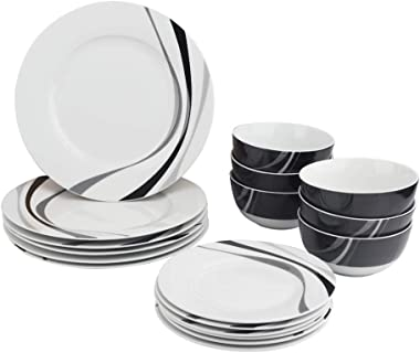 Amazon Basics 18-Piece Kitchen Dinnerware Set, Plates, Dishes, Bowls, Service for 6, Swirl