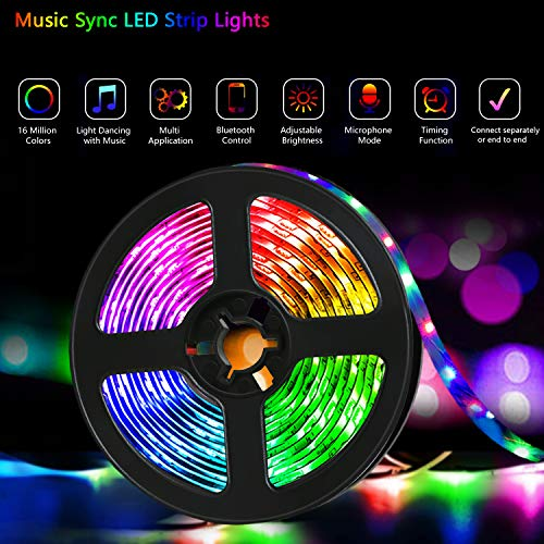 QZYL Led Lights for Bedroom,49.2 Feet Led Strip Lights,Music Sync Color Changing Flexible Rope Lights with Remote App Control Luces Led Strips Lights for Party Home Decoration 4