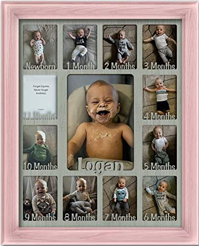 """Northland Baby First Year Personalized Frame - Holds Twelve 2.5"""" x 3.5"""" Newborn Nursery Decor Photos and 5"""" x 7"""" One Year Picture, Pink Frame, Light Gray Mat, Customizable with Any Name"""