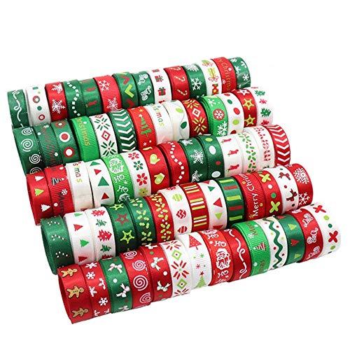24 Rollens Bunte Weihnachtsmotive Geschenkband Weihnachten Thema Geschenkband Weihnachtsband Geschenkpapier Set, für Weihnachtsverpackung, Hochzeit, Haarschleifen, Scrapbooking usw—Zufällig, 21 Meter