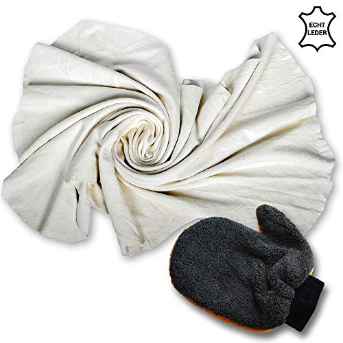 Jalawango Autoleder Fensterleder Ledertuch aus echtem Leder – ca. 50x80cm I inkl. Waschhandschuh – Lederlappen für Auto und Haushalt I Trockentuch Naturleder-Reinigungstuch