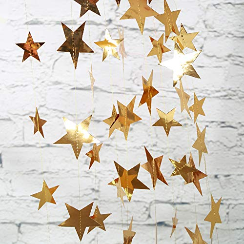 Paper Garland Decorations, Glitter Star Garland Silver Gold Hanging Star Bunting Banner Christmas Birthday Engagement Wedding Baby Shower Graduation New Year Ceiling Wall Decor 13 Feet 4 Pack