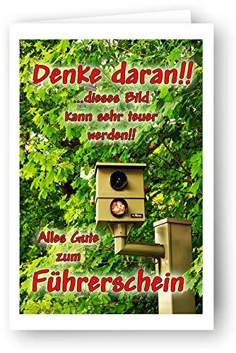 Yabue Führerschein Foto-Karte Grußkarte Prüfung Bestanden Radar 16x11cm