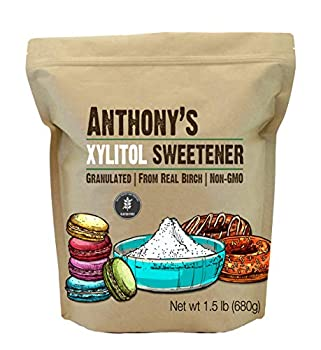 Anthony s Xylitol Sweetener 1.5 lb Made from Birch Gluten Free Keto Friendly Non GMO