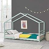 Cama para niños de Pino 200 x 90 cm Cama Infantil Forma de casa en Color Verde Menta Lacado Mate
