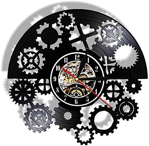 zgfeng Tribe Machine Clock Gear Mute Reloj de Cuarzo Disco de Vinilo Reloj de Pared Vinilo Creativo Reloj de Pared decoración del hogar Regalos-Sin LED