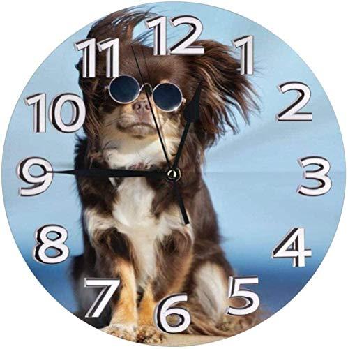 Relojes De Pared Divertido Perro Chihuahua Posando En La Playa Con Gafas Reloj Número Reloj De Pared Redondo Reloj Con Números Arábigos Reloj Silencioso Que No Hace Tictac Decoración Colorida