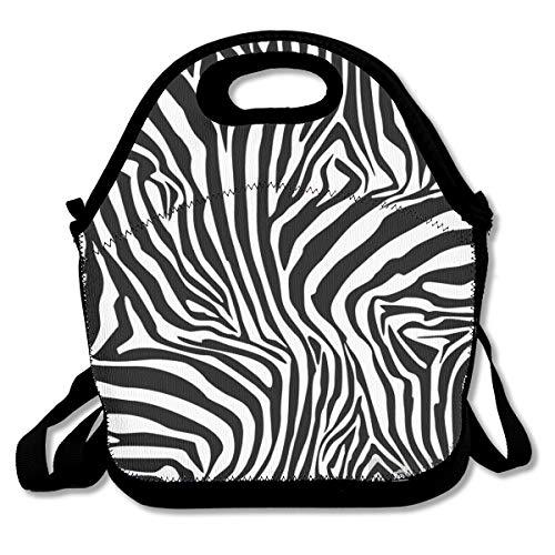 Zebra Streifen Hintergrund Geïsoleerde Herbruikbare Lunch Bag Tote Handtas Lunchbox Voedsel Container Gourmet Tote Voor School Werk Kantoor