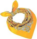 Tobeni 548 Bandana Head- Pañuelos de tela Nicki Fulares 100% Algodón para Mujer y Hombre Color Paisley Amarillo Tamano 54 cm x 54 cm