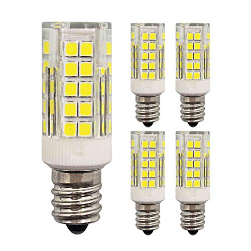 E12 LED Light Bulb 5W Equivalent to 40W 50W Halogen Daylight White 6000K 500LM AC 110V 120V 360° Beam Angle E12 Base LED C7 Night Light Bulbs Ceiling Fan Indoor Decorative (Pack of 4)