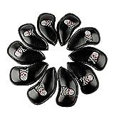 mamimamih grueso de cráneo de golf 10pcs Negro PU Cuero Sintético Fit todas las marcas de cráneo de palo de cubiertas para cabezas de palos de golf Titleist, Ping, Callaway, TaylorMade, Cobra, Nike, etc.