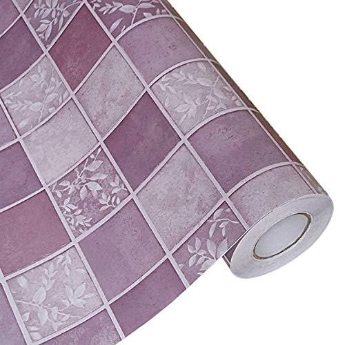 LZYMLG Baño Pegatinas de pared Pvc Mosaico Papel pintado Cocina Impermeable Azulejos Pegatinas Plástico Vinilo Autoadhesivo Papeles de pared Decoración para el hogar Tela escocesa violeta