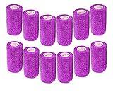 3 Inch Vet Wrap Tape Bulk (Purple) (Pack of 12) Self Adhesive Adherent Adhering Flex Bandage Rap Grip Roll for Dog Cat Pet Horse