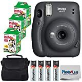 Fujifilm Instax Mini 11 Instant Camera - Charcoal Grey (16654786) + 3x Packs Fujifilm Instax Mini Twin Pack Instant Film + Batteries + Case - Instant Camera Bundle