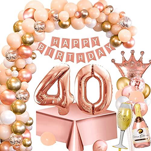 Palloncini Compleanno 40 Anni Donna, Decorazione Feste Oro Rosa con Numero 40 Palloncini, Striscione Buon Compleanno, Tovaglia Oro Rosa, Palloncino Bottiglia Vino Corona per Feste Compleanno 40 Donna