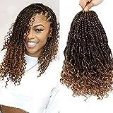 8 Packs Boho Box Braids Crochet Hair with Curly Ends 14 Inch Omber Goddess Box Braids Crochet Hair Prelooped Curly Crochet Hair for Black Women (14' 8 Packs, T1B/27#)